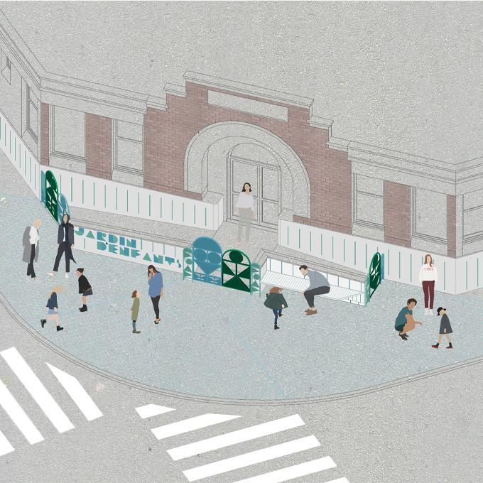 E10 LANDOUZY  - aménagement du parvis du jardin d'enfants Dr Landouzy, Paris (75)